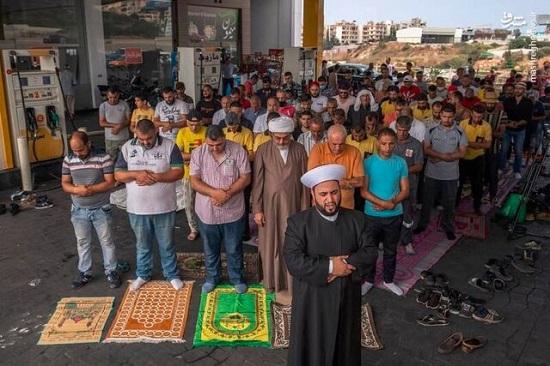نماز جمعه لبنان در پمپ بنزین اقامه شد+عکس