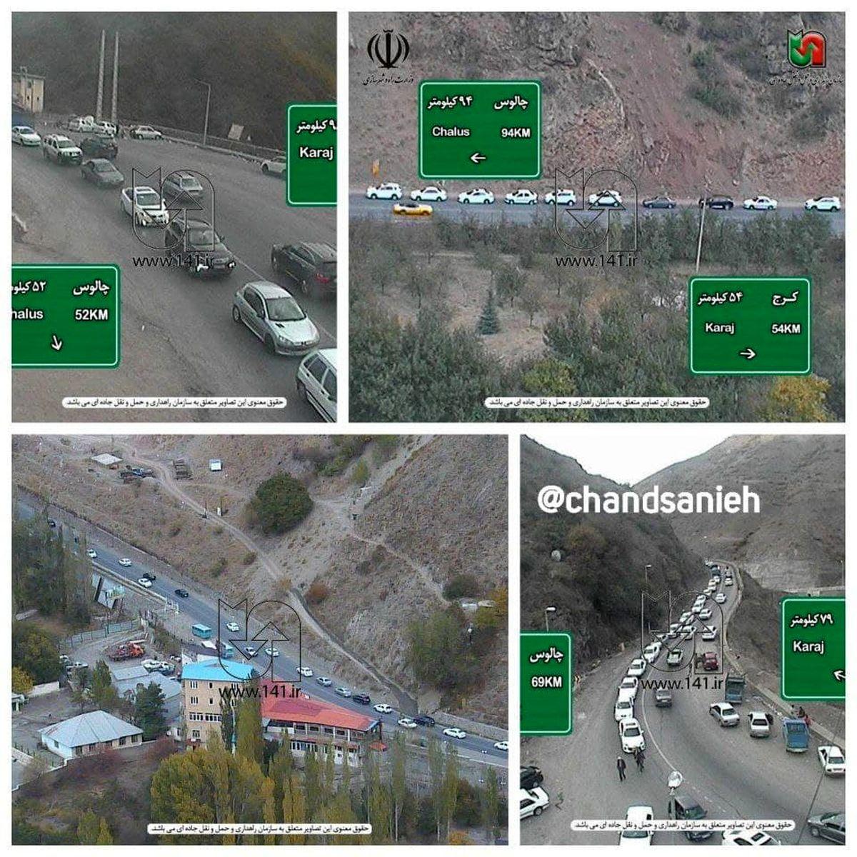 ترافیک سنگین در همه محورهای جاده چالوس+عکس