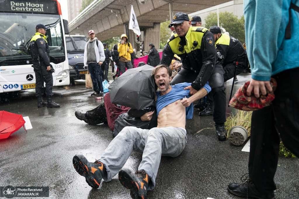 برخورد زشت پلیس هلند با یک مرد+عکس