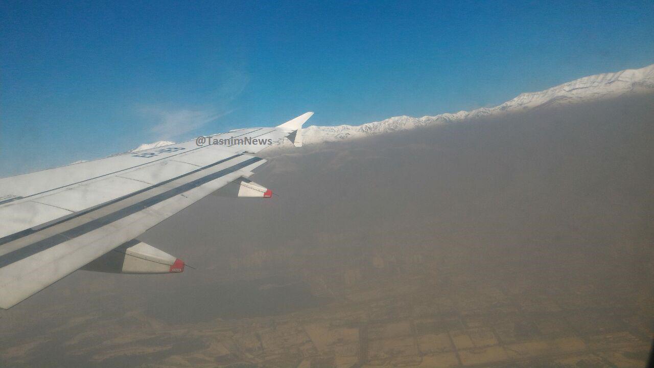 آلودگی هوای تهران از پنجره هواپیما +عکس