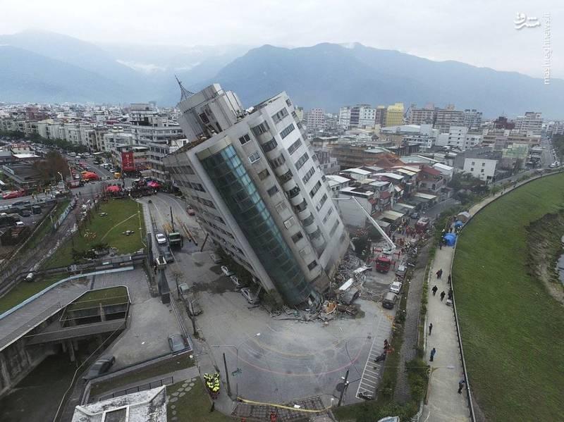 عکس هوایی از هتل کج شده در تایوان