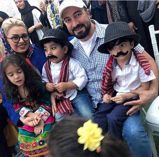 «مجید صالحی» در کنار همسر و دوقلوهایش /عکس