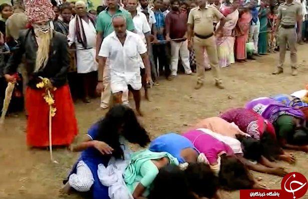 مراسم عجیب شلاق زدن هزاران زن هندی برای دور کردن شیطان! +عکس