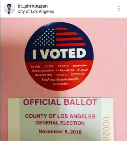 رای دادن نماینده مجلس ایران در انتخابات آمریکا +عکس
