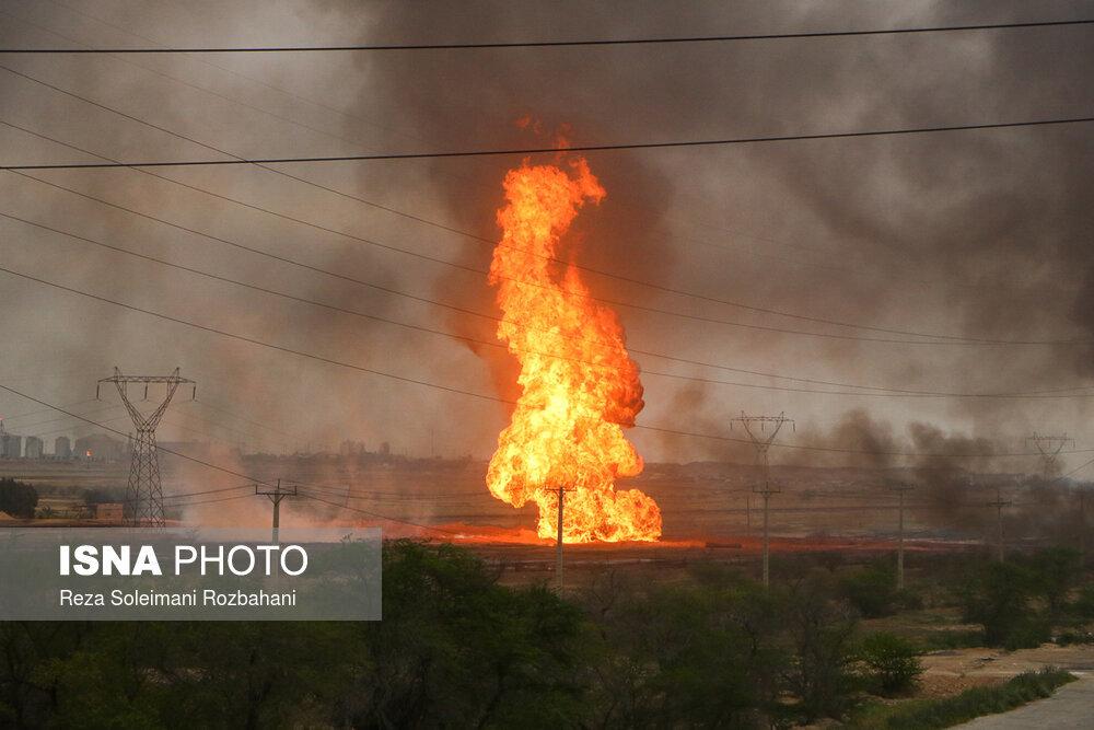 اولین تصاویر از انفجار خط لوله گاز اهواز +عکس