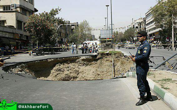 اتوبان «نواب» تهران نشست کرد+ عکس