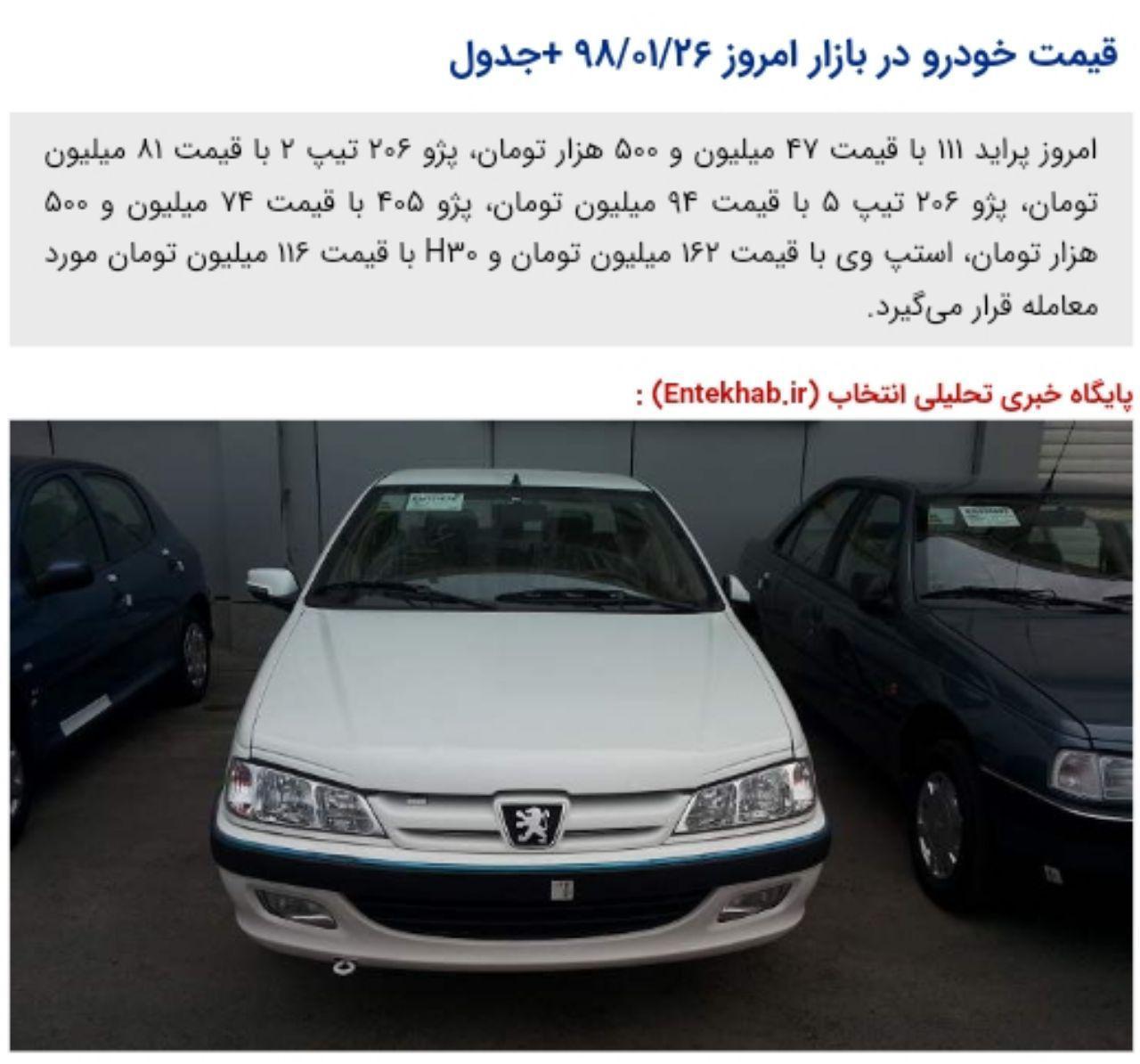 قیمت خودرو در بازار امروز  +جدول