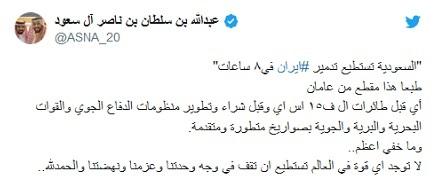 ادعای شاهزاده سعودی درباره نابودی ۸ ساعته ایران! +عکس