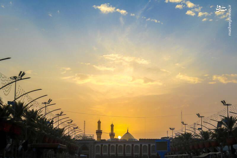 لحظه زیبای طلوع آفتاب در کربلا +عکس