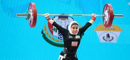 اولین دختر ایرانی در مسابقات جهانی وزنهبرداری +عکس