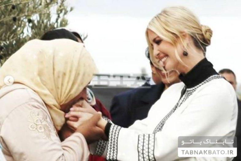 بوسه بر دستان دختر ترامپ جنجال بپا کرد +عکس