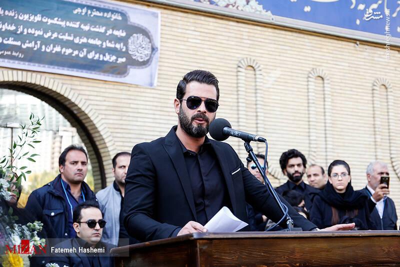 پژمان بازغی و لاله اسکندری در مراسم تشییع مجید اوجی +عکس
