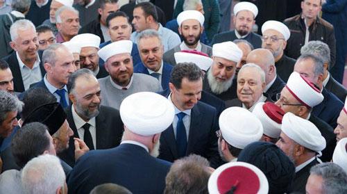 بشار اسد در جشن میلاد پیامبر (ص) +عکس