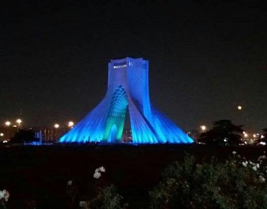 برج آزادی، آبی رنگ شد +عکس