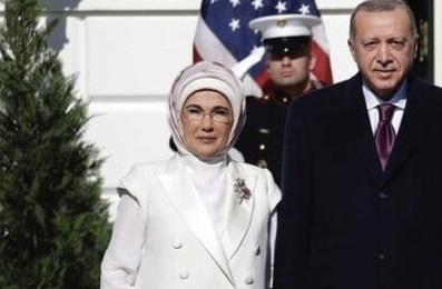 حجاب جالب همسر اردوغان در کاخ سفید +عکس