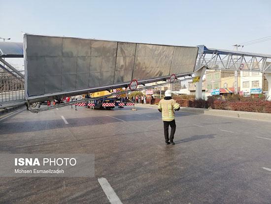 سقوط پل عابر پیاده در مشهد +عکس