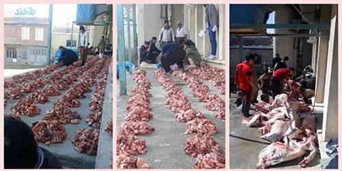 قربانی کردن ۵۷ رأس گوسفند برای دفع بلای کرونا +عکس
