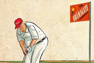 ترامپ در حال گلف بازی با کرونا+عکس