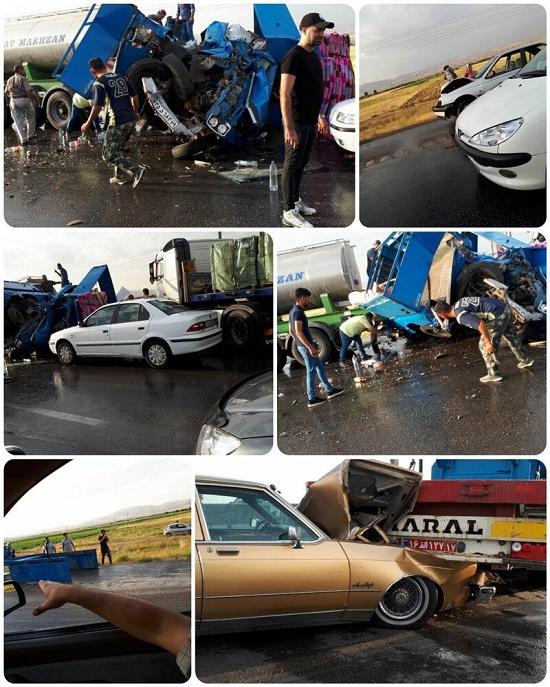 تصادف زنجیرهای در اتوبان قزوین+عکس