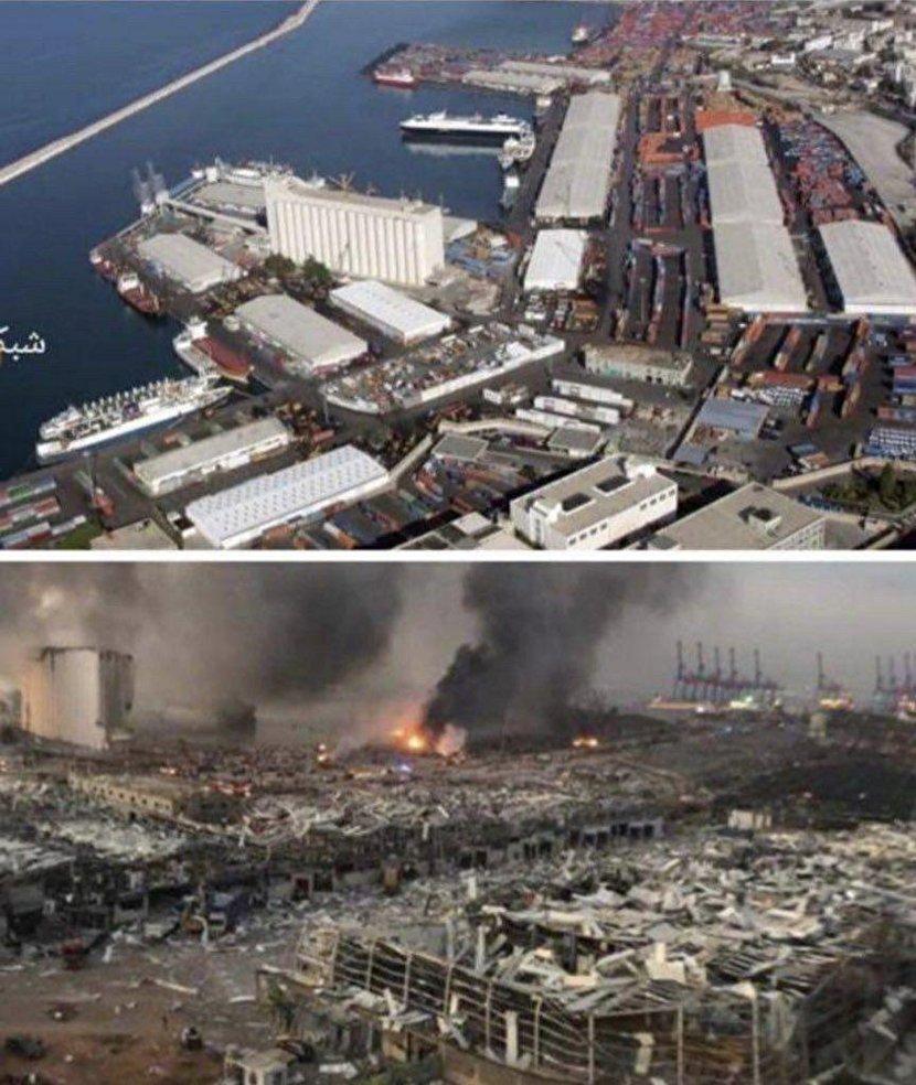 ساحل بیروت قبل و بعد از انفجار+عکس