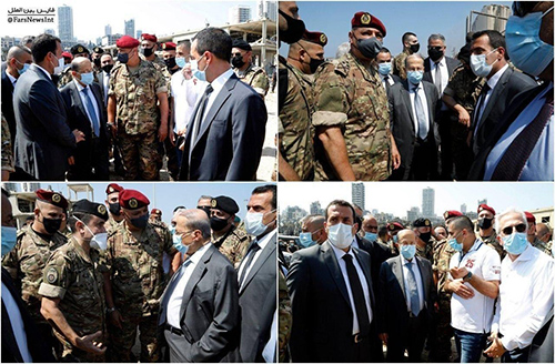 رئیسجمهور لبنان در خرابههای انفجار بیروت+عکس