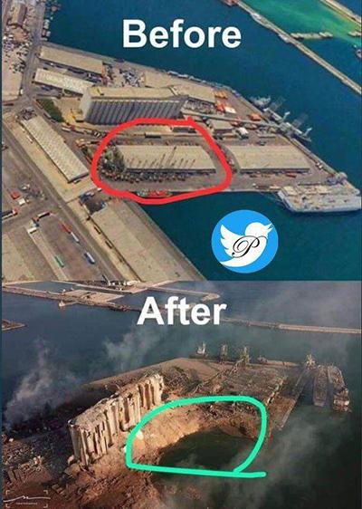 تصویری از قبل و بعد مرکز انفجار بیروت+عکس