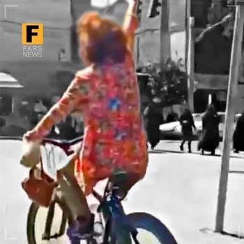 حرکت زشت دختر دوچرخه سوار اصفهانی +عکس