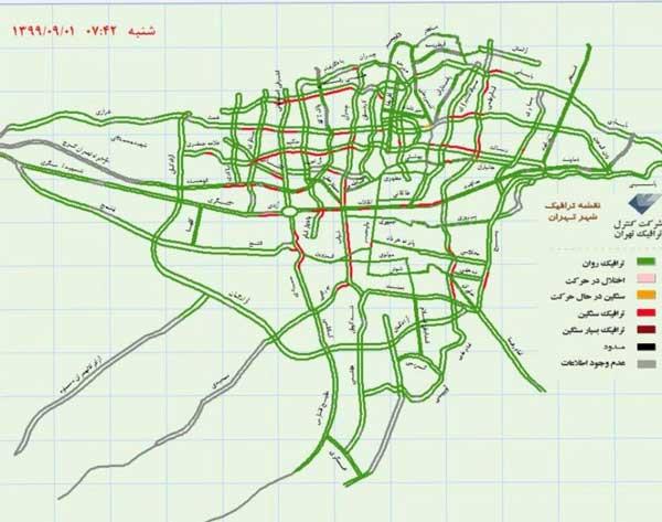 وضعیت ترافیک تهران در اولین روز محدودیتهای کرونایی +عکس