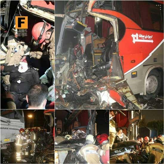 تصادف سه اتوبوس با یک خودرو نیسان در تهران+عکس