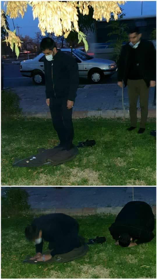 نماز اول وقت مرد معروف ایرانی در خیابان +عکس