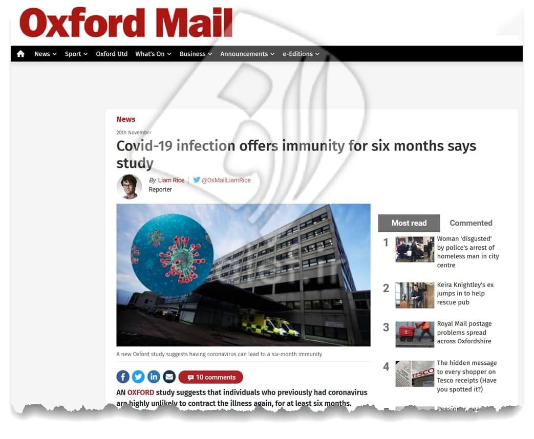 خبر  خوب دانشگاه آکسفورد درباره بهبودیافتگان کرونا