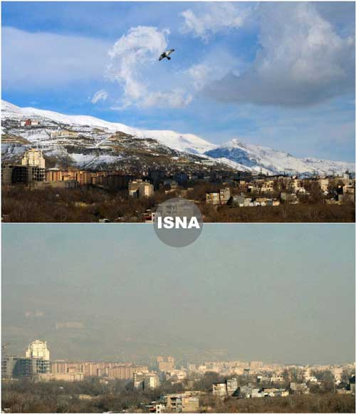 تفاوت هوای تهران در یک روز پاک و آلوده+عکس