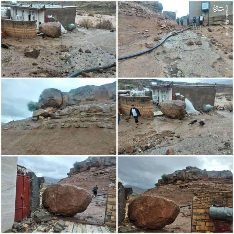 سقوط ترسناک سنگ بزرگ به روستایی در لرستان+عکس