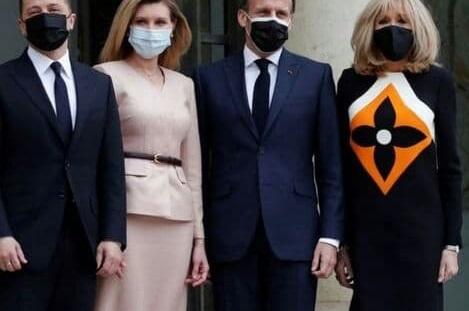 طرح ایرانی روی لباس همسر رئیس جمهور فرانسه سوژه شد+عکس