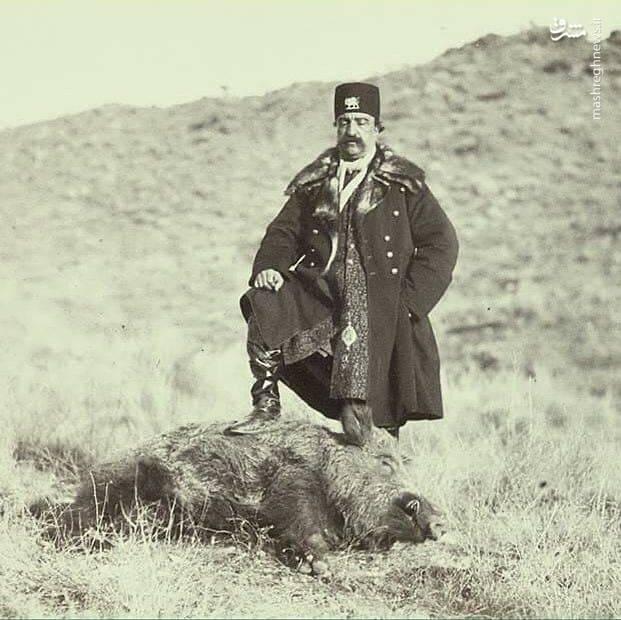 ژست ناصرالدین شاه پس از شکار گراز+عکس