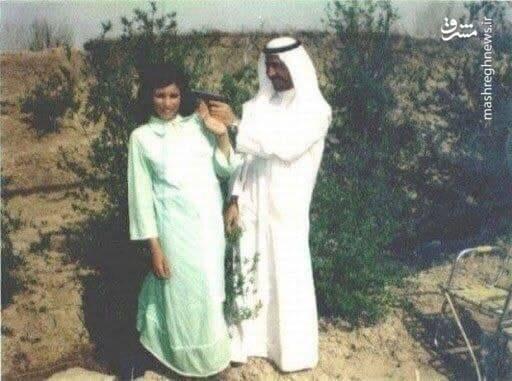 شوخی ترسناک صدام با زنش+عکس