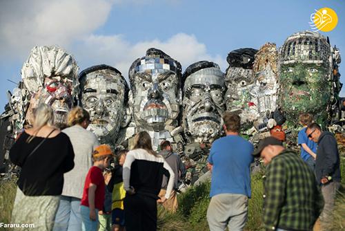 ساخت مجسمه سران گروه هفت با زباله+عکس