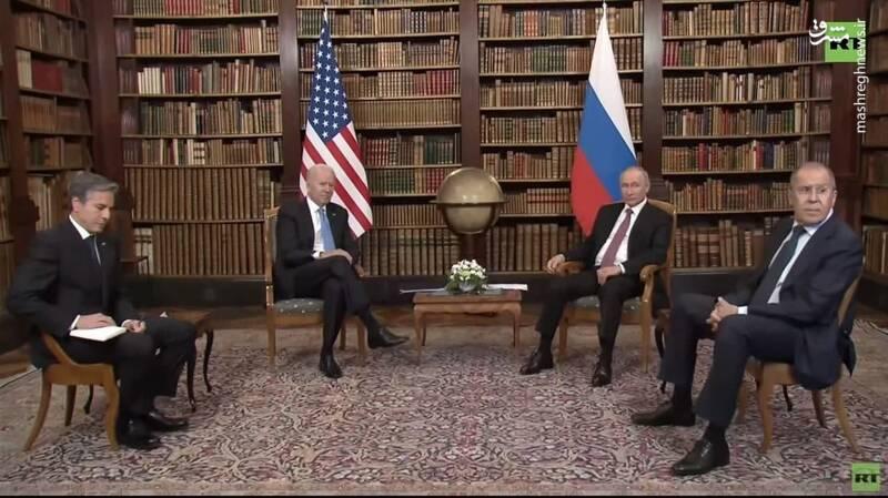 شیوه نشستن پوتین در دیدار با بایدن+عکس