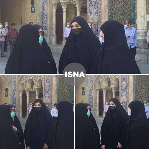 دختر سردار سلیمانی در حرم حضرت عبدالعظیم رای داد+عکس