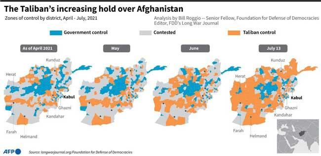 نقشه جدید افغانستان پس از تصرف طالبان+عکس