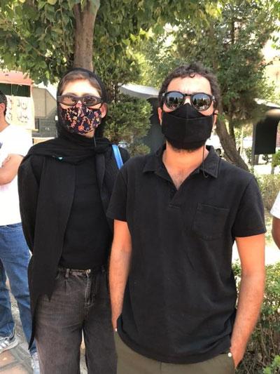 نوید محمدزاده و همسرش در تجمع حمایت از خوزستان+عکس