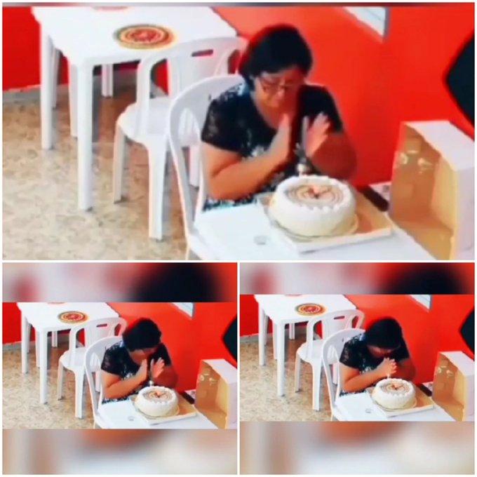 تصویر تلخ از جشن تولد یک زن تنها در کافه +عکس