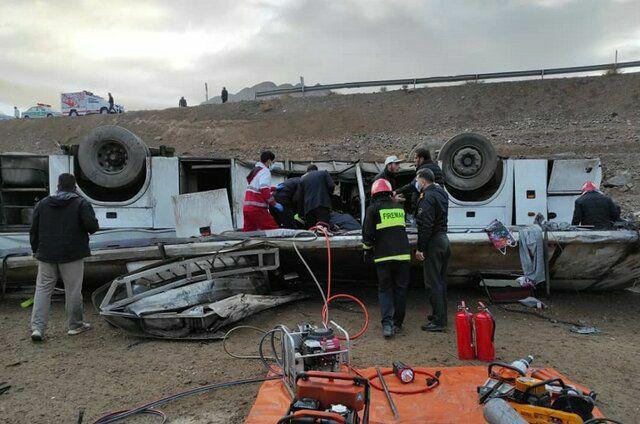واژگونی اتوبوس در محوز هراز با ۳ کشته+عکس