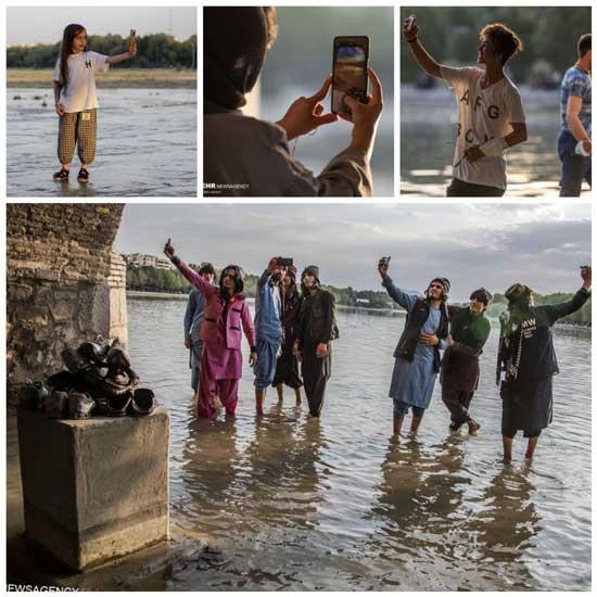 آخرین سلفی های اصفهانی ها با زاینده رود پرآب+عکس